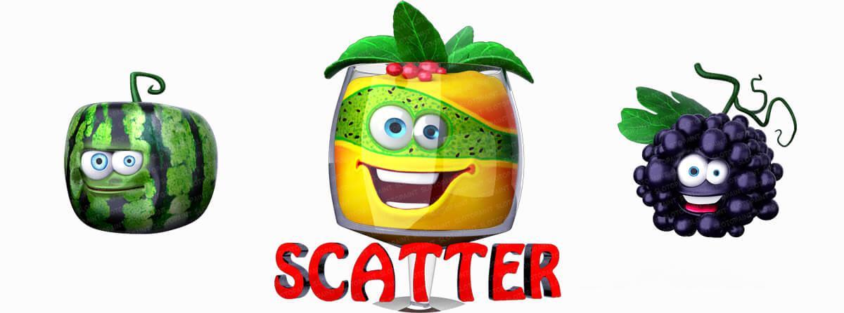 "Animated fruit symbols of slot ""Fruit Cicktail"""