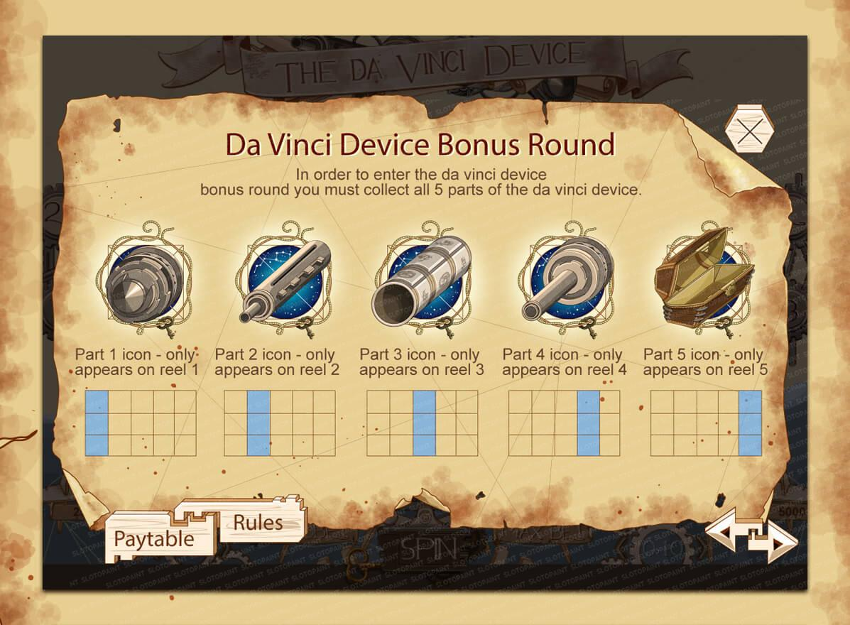 The Da Vinci Device Slot Machine