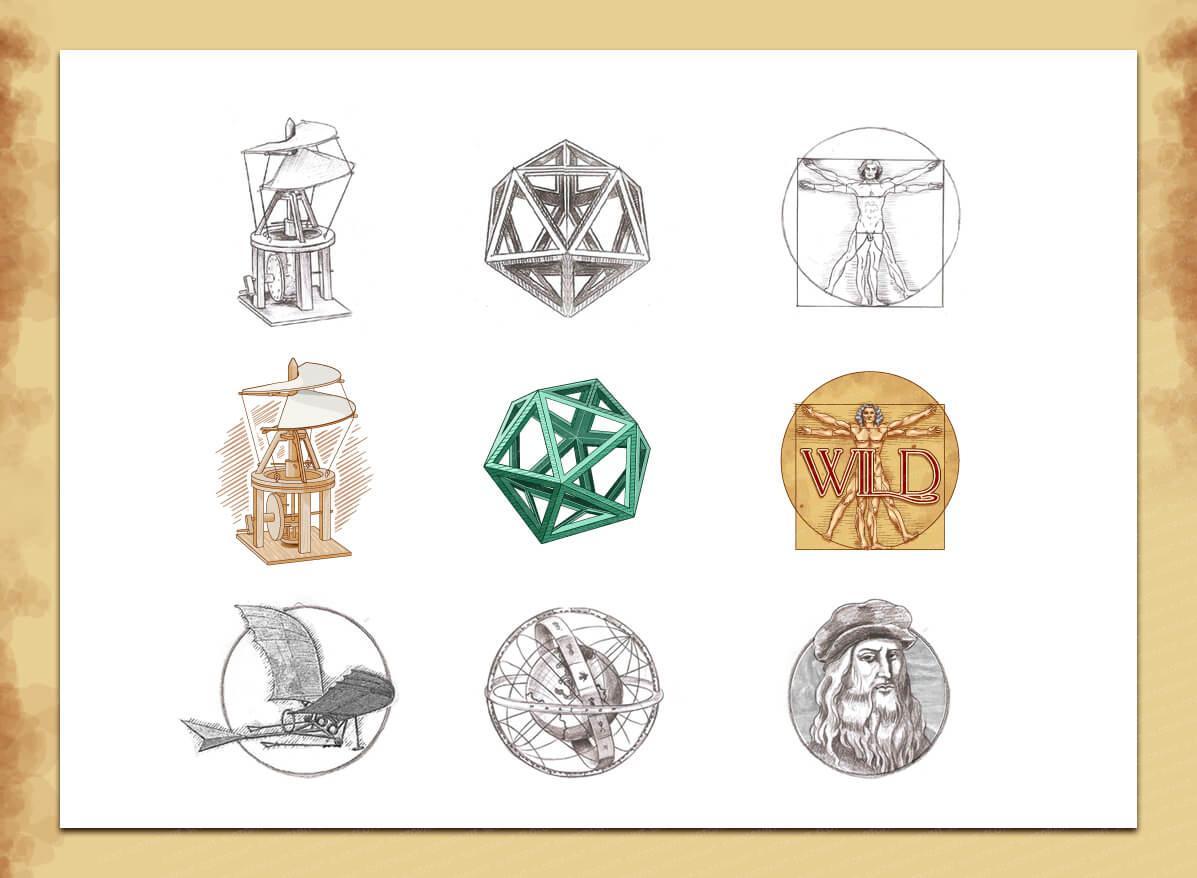 "The slot machine ""The Da Vinci Device"" | Slotopaint Da Vinci Symbols"