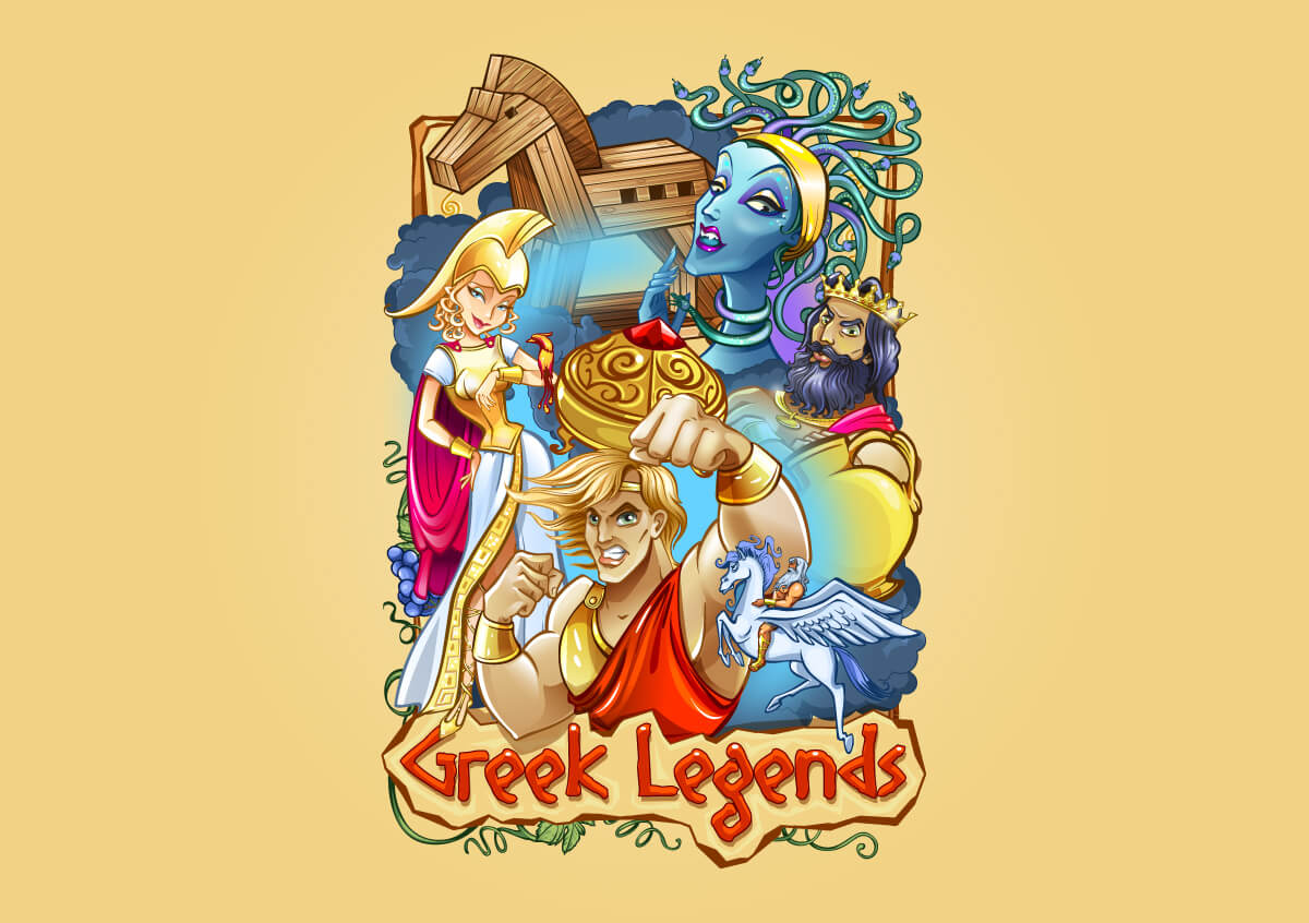 "Logo for the slot ""Greek legends"""