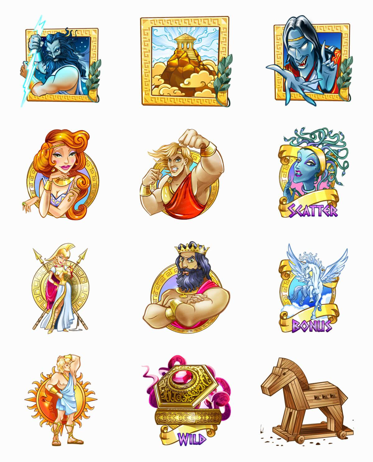 Greek mythology symbols greek god symbols characters icons at here you can see animations of special symbols for the slot machine biocorpaavc