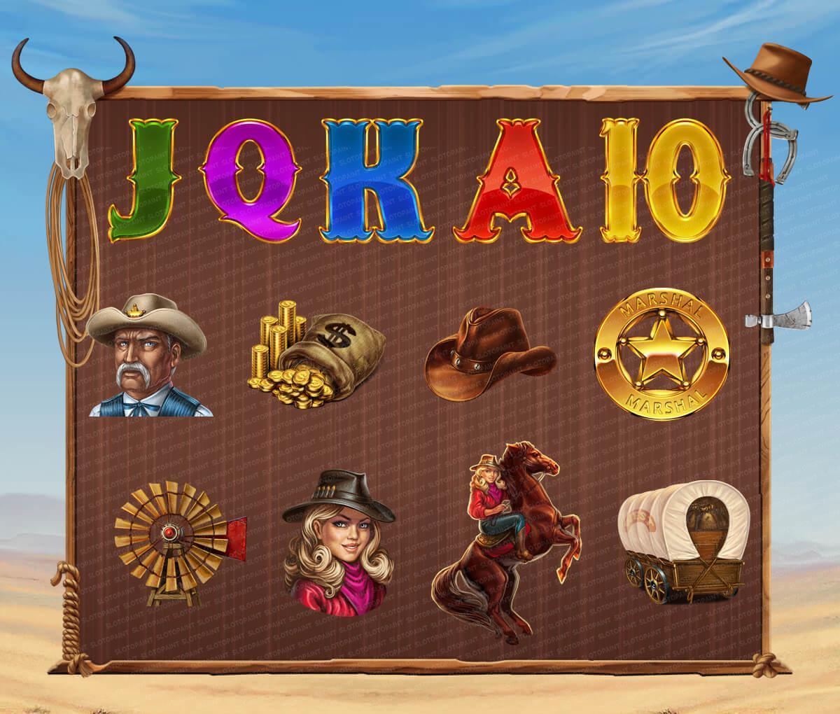"Cowboy symbols. characters at slot machine ""Wild West"""