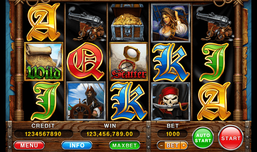 "Game reels of the slot machine ""Rich Pirates"""