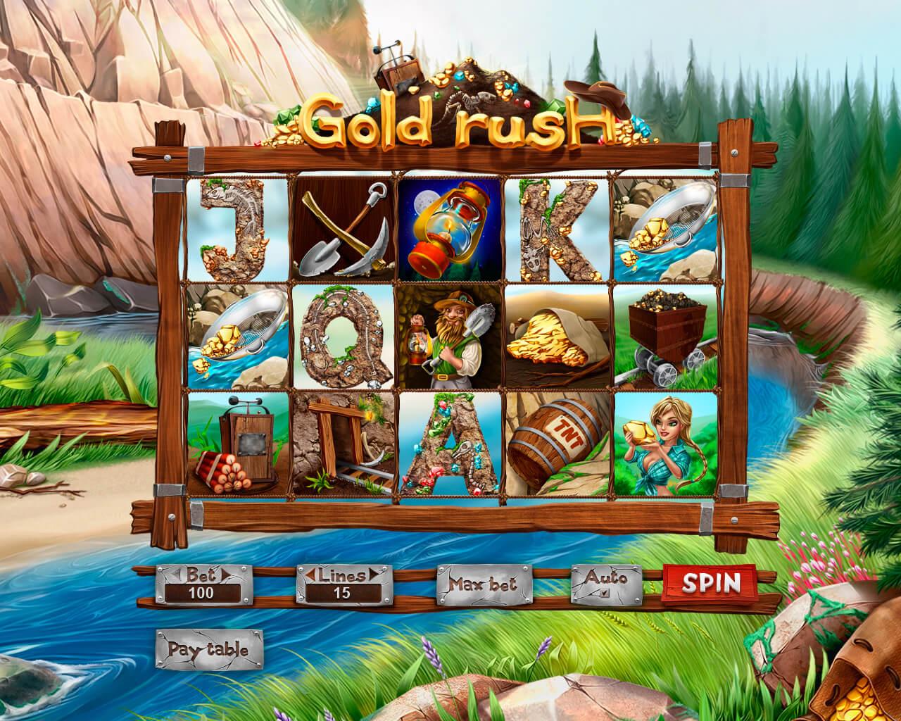 "Game reel of slot machine ""Gold Rush"""