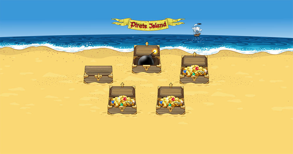 "bonus game of the slot machine ""Pirate Island"""