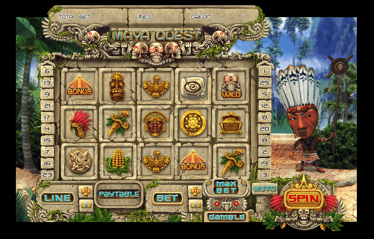 Maya symbols at slot machine