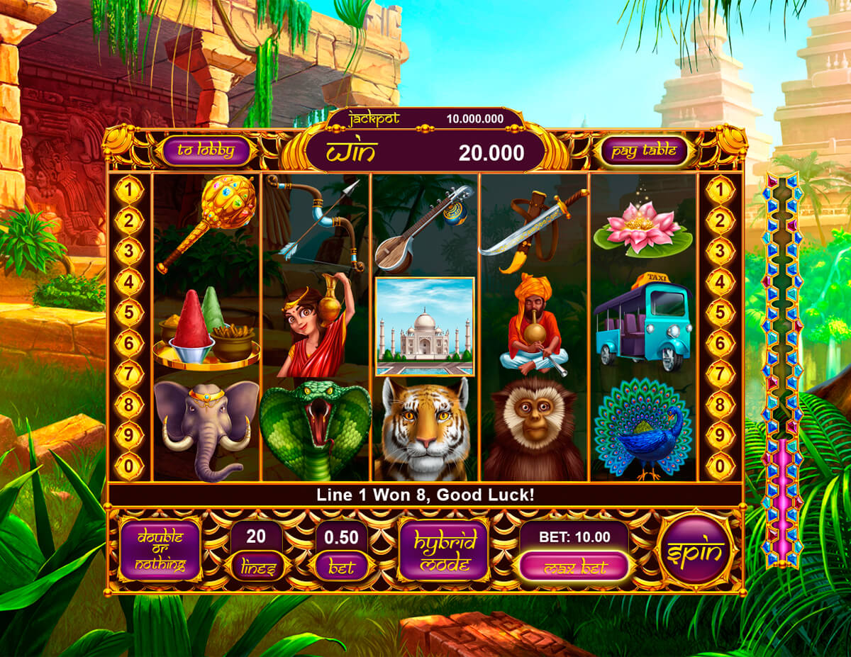 "Slot machine ""India Dreams"" game reels"