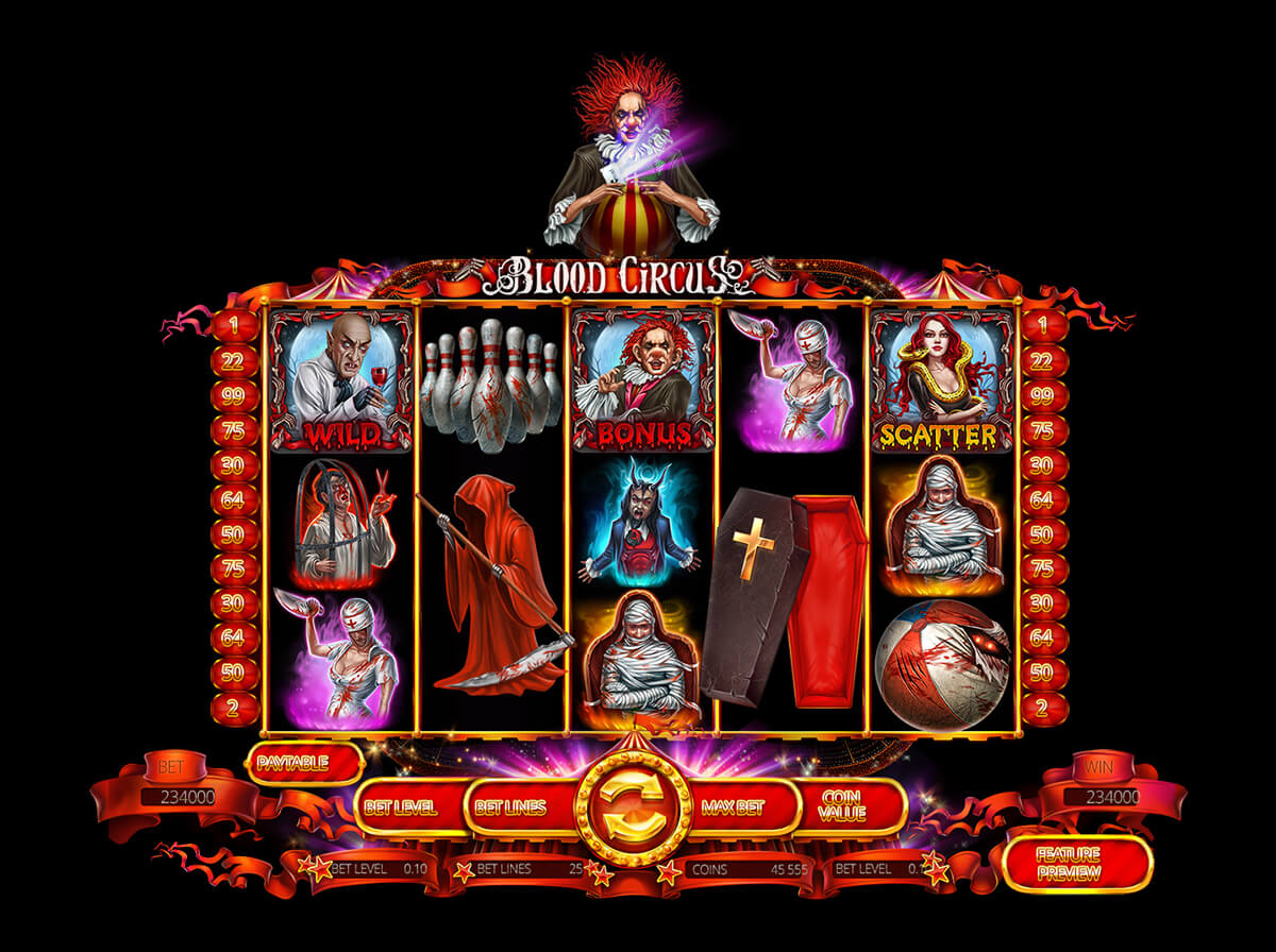 "Graphic Design of the slot machine ""Blood Circus"""