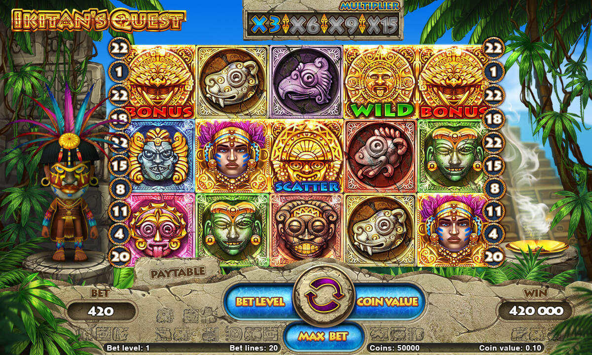 "Game reel of the slot machine ""Ikitan's Quest"""